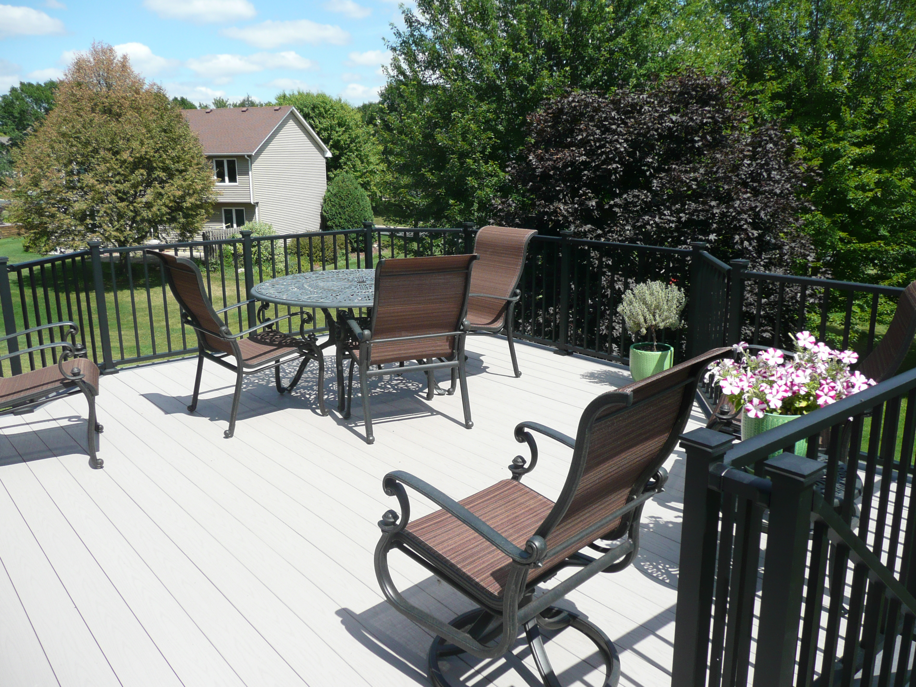 Gray Deck, Black Railing, Deck Furniture