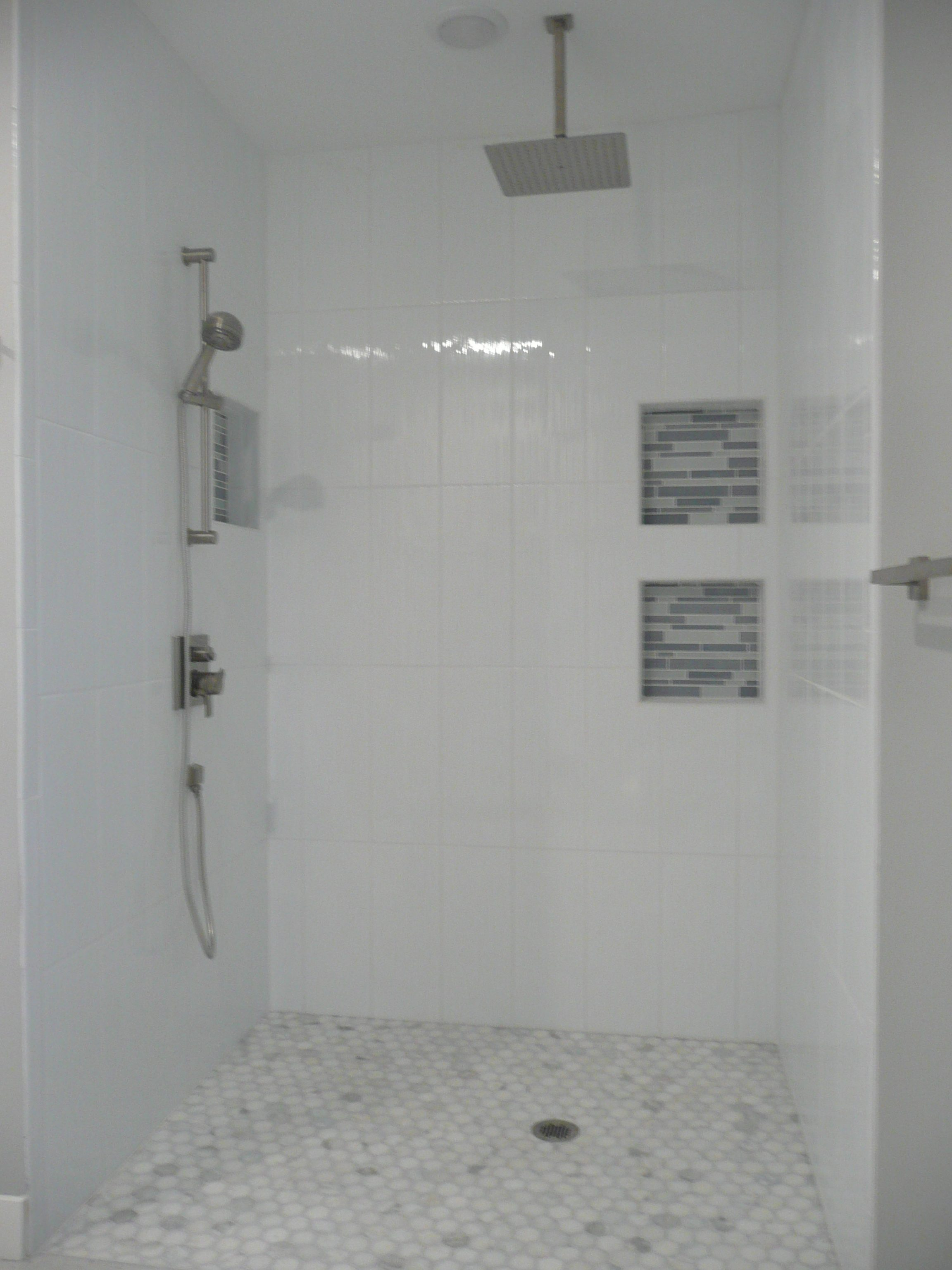 Walk In Shower Luxury Glass Door Marble Tile
