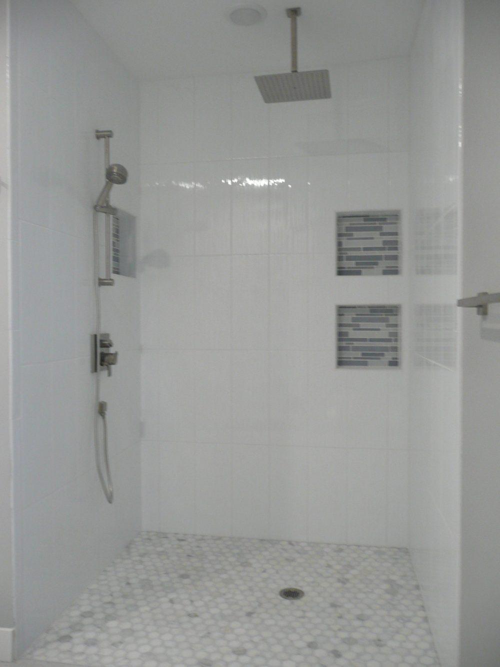 Walk In Shower Luxury Glass Door Marble Tile