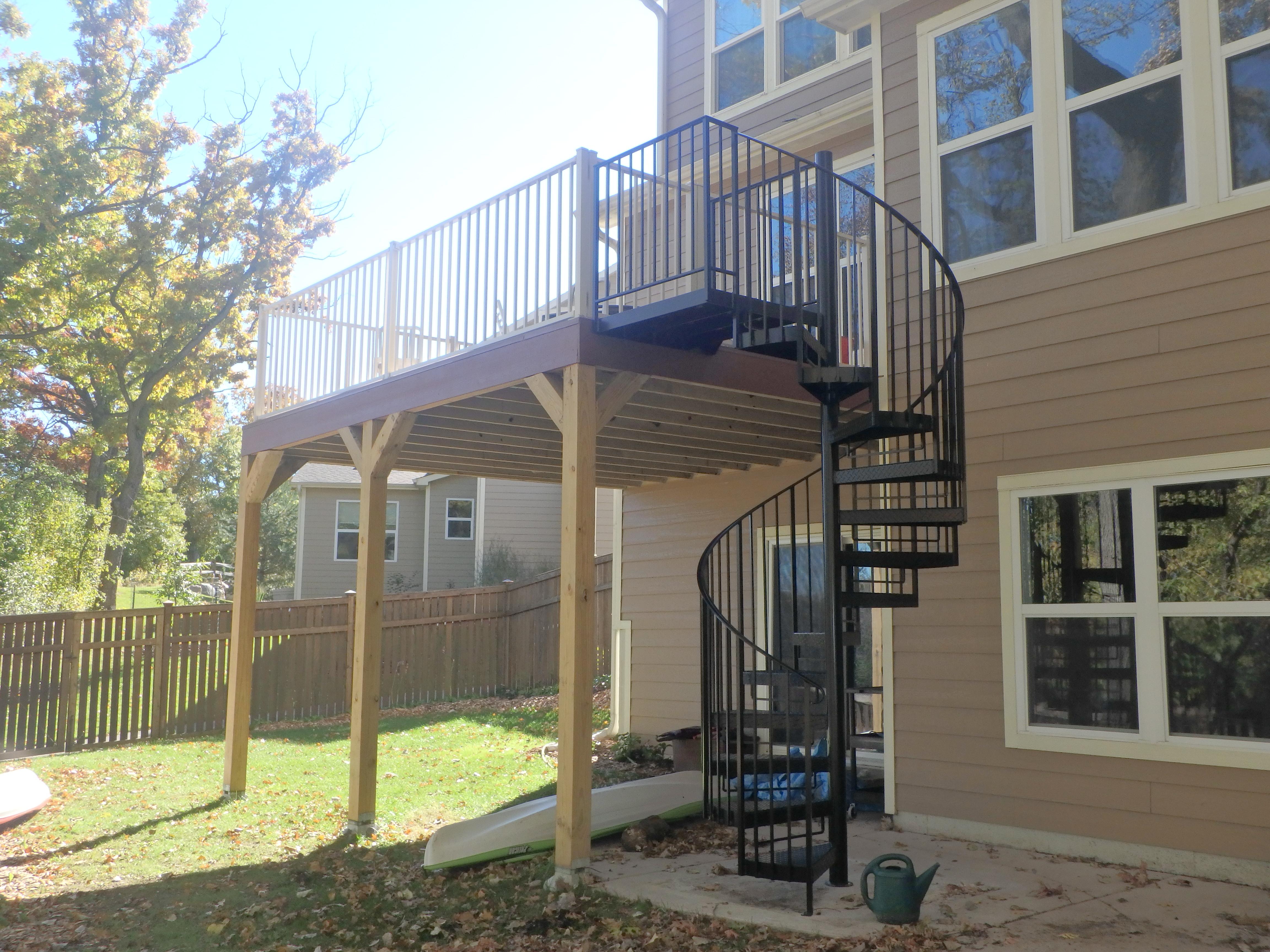 Spiral Staircase Lockdry Westbury Aluminum Railing Roseville