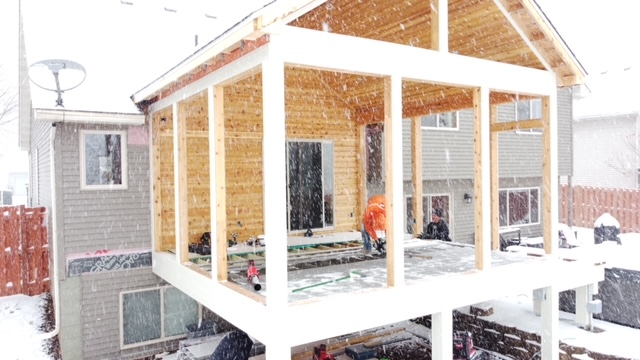 porch building twin cities winter