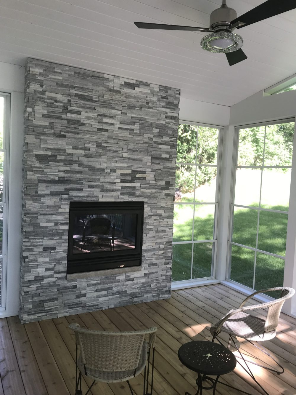 Fireplace and Fan in Custom Porch